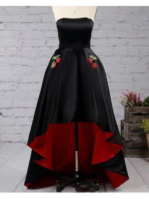 Strapless Black And Red Pleated High Low Prom Dress With Appliqued Pockets