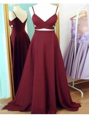 Spaghetti Straps Burgundy Cutout Simple Long Prom Dress