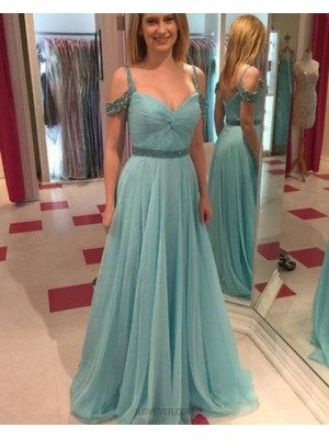 Simple Cold Shoulder Teal Tulle Beading Prom Dress