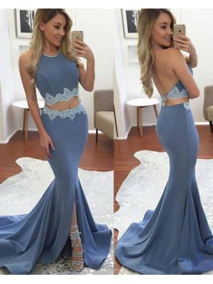Halter Two Piece Appliqued Mermaid Blue Prom Dress With Slit