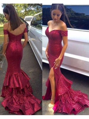 Off The Shoulder Sequined Red Mermaid Prom Dress With Side Slit