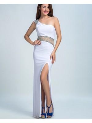One Shoulder White Beading Chiffon Sheath Prom Dress With Side Slit