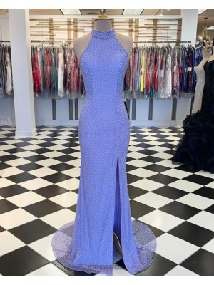 High Neck Mermaid Fish Net Lace Blue Mermaid Prom Dress With Side Slit