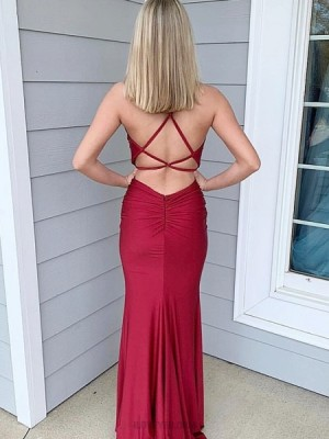 Simple Burgundy Spaghetti Straps Satin Mermaid Prom Dress