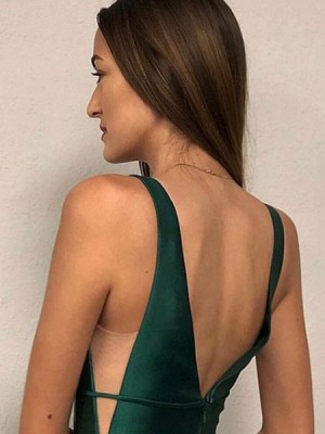Simple V Neck Green Satin Prom Dress With Pockets