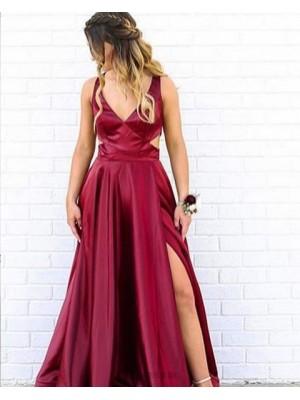 Simple V Neck Cutout Burgundy Satin Prom Dress With Side Slit