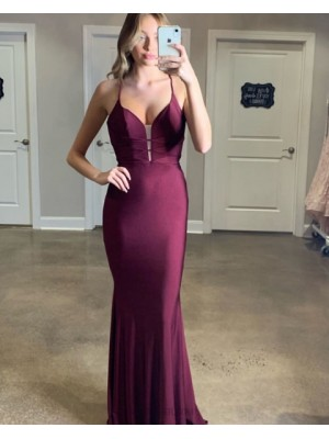 Simple Spaghetti Straps Burgundy Mermaid Satin Prom Dress
