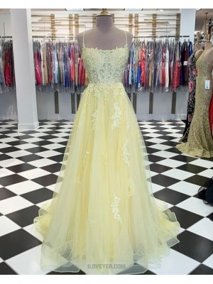 Spaghetti Strap Light Yellow Appliqued Tulle Prom Dress