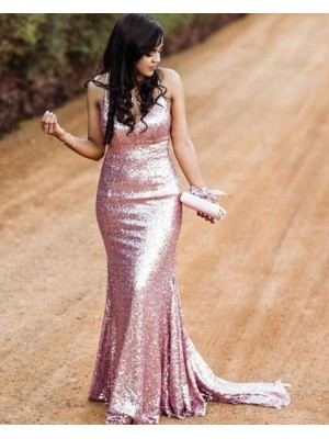 Spaghetti Straps Rose Gold Sequin Mermaid Prom Dress