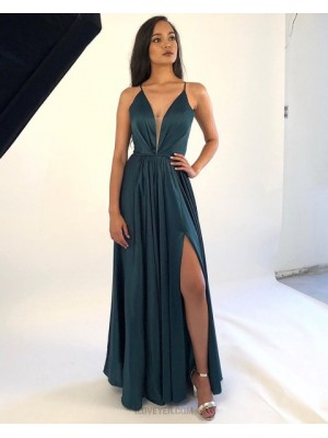 Deep V Neck Ruched Dark Green Satin Prom Dress With Side Slit
