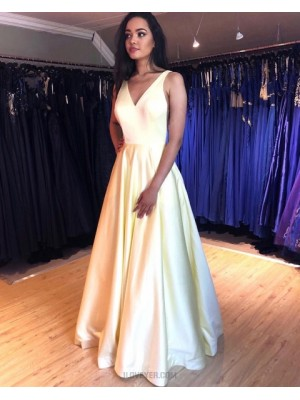 V Neck Light Yellow Simple Pleated Prom Dress With Pockets