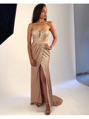 Sweetheart Gold Sequin Ruched Prom Dress With Side Slit