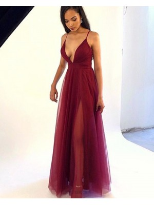 Spaghetti Straps Burgundy Simple Tulle Prom Dress With Side Slit