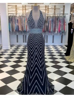 Halter Wave Sequin Style Navy Blue Mermaid Prom Dress