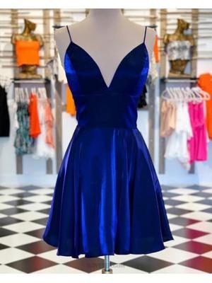 Spaghetti Straps Velvet Royal Blue Homecoming Dress With Pockets