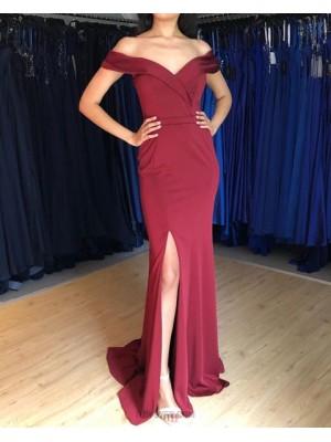 Simple Off The Shoulder Burgundy Mermaid Prom Dress With Side Slit