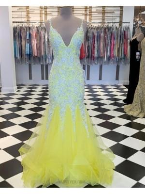 V Neck Beading Appliqued Yellow Mermaid Ruffled Prom Dress