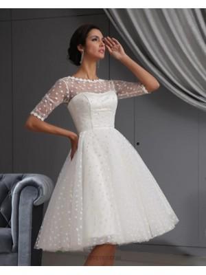 Jewel Neck Polka Dots White A Line Short Wedding Dress With Half Length Sleeves