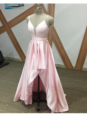 Simple Spaghetti Straps Pink High Low Prom Dress