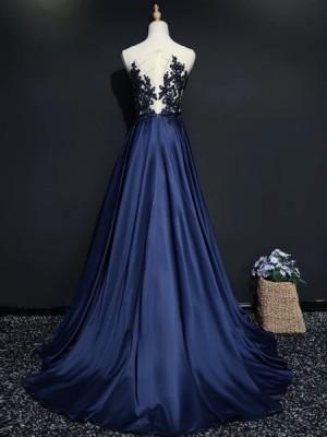 Sheer Neck Beading Bodice Navy Blue Satin Evening Dress