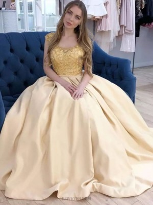 Scoop Neck Beading Bodice Yellow Prom Dress With Pockets