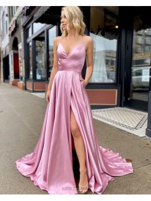 Simple Spaghetti Straps Pink Satin Slit Prom Dress With Pockets