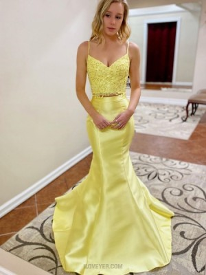 Two Piece Yellow Lace Bodice Mermaid Prom Dress