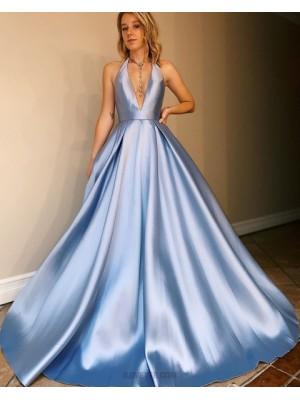 Simple Halter Light Blue Satin Prom Dress With Pockets