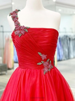 One Shoulder Beading Ruched Tulle Red Prom Dress