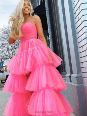 Strapless Black Tulle High Low Layer Ruffled Prom Dress