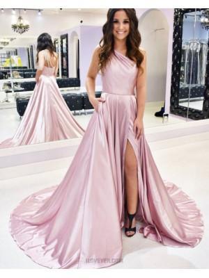 Simple Slit One Shoulder Pink Satin Prom Dress With Pockets