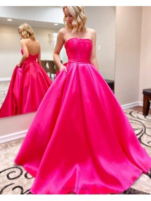 Simple Strapless Rose Red Satin Prom Dress With Pockets