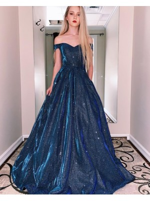 Off The Shoulder Metal A Line Prom Dress With Pockets