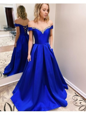 Off The Shoulder Blue Beading Satin Prom Dress With Pockets
