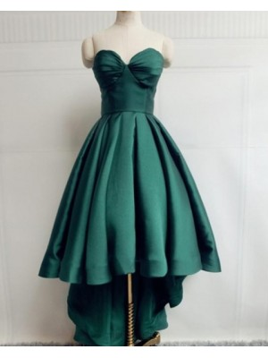 Simple Sweetheart High Low Green Satin Prom Dress
