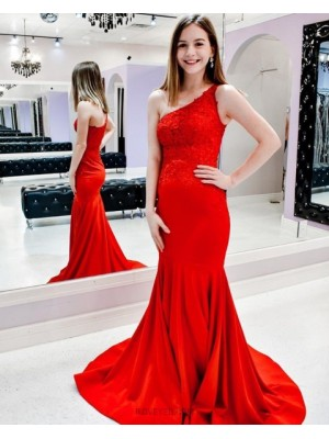 One Shoulder Lace Bodice Mermaid Prom Dress