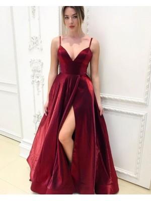 Simple Spaghetti Straps Velvet Burgundy Prom Dress With Side Slit