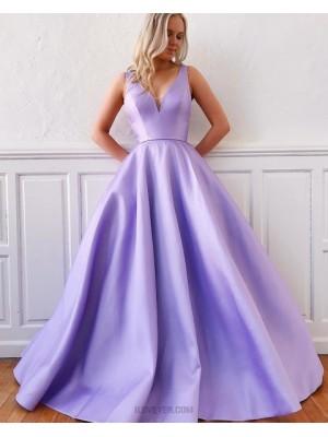 Simple Lavender V Neck Satin Prom Dress With Pockets
