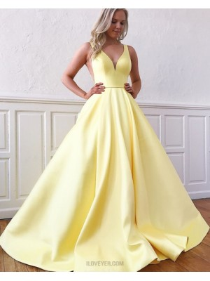 Simple V Neck Satin Yellow Prom Dress With Pockets