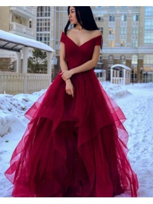 Simple Off The Shoulder Burgundy Ruffled Prom Dress
