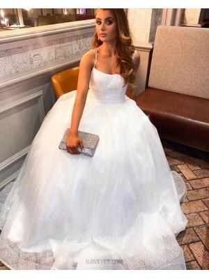 Elegant Spaghetti Straps White Sequin Lace Prom Dress