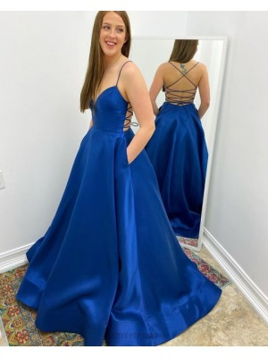 Simple Blue Spaghetti Straps Satin Prom Dress With Pockets