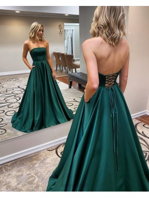 Simple Strapless Satin Green Prom Dress With Pockets