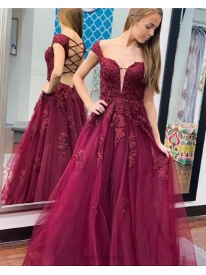 Cap Sleeve Burgundy Lace Applique Tulle Prom Dress