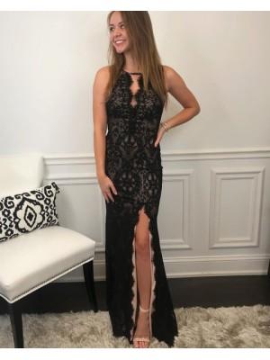 Jewel Neckline Lace Black Mermaid Prom Dress With Side Slit