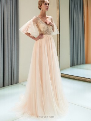 V Neck Champagne Beading Bodice Tulle Long Evening Dress With Short Bell Sleeves