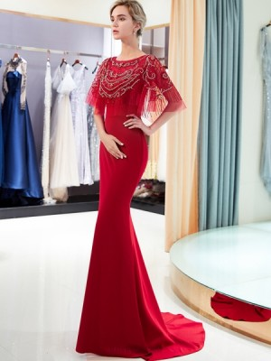Elegant Jewel Neck Red Beading Bodice Mermaid Satin Evening Dress