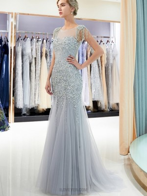 Jewel Beading Sheer Grey Mermaid Evening Dress With Cap Sleeves