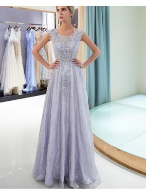Scoop Lace Beading Sparkle A Line Light Purple Evening Dress