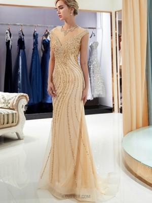 Elegant High Neck Gold Beading Mermaid Evening Dress
